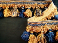 "Italian 4"" Exclusive Multi Gold Navy Fancy Braid Tassel Fringe Trim LT-118"