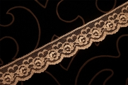 "1 1/4"" Tan Floral Lace Trim #1036"