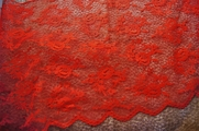 "12"" Melon Red Floral Lace Trim #1041"