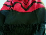 Exclusive Black Dark Red Designer Fringed Fabric # NV-321