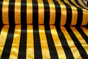 "Gold Black 1"" Striped Satin Fabric # K-249"