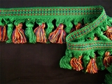 "Italian 2 3/4"" Brushed Tassel Fringe Trim Green, Multi Navy Yellow Dark Red LT-25"