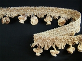 "Italian 2"" Ivory Beige Tan Fancy Braid Onion Tassel Fringe Trim 1-3/4 yards"