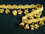 "Italian 2"" Multi Gold Fancy Braid Onion Tassel Fringe Trim LT-97"