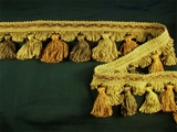 "Italian 2 1/4"" Lt. Brown, Gold Brown, Brown Fancy Braid Tassel Fringe Trim LT-63"