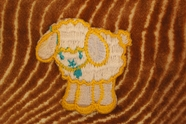 White Sheep Iron On Patch Applique with Yellow and Turquoise # appliques-1092