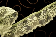 """2 1/4"""" Light Lime Floral Ruffled Lace Trim #1027"""