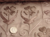 Tan Silk Embroidered Fabric #RR-102