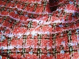 Rose Grape Brown Grey Novelty Boucle Plaid Fabric #3F-640