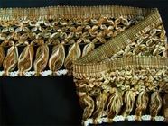 "Italian 5"" Exclusive Fancy Olive Green Off White Brown Fringe Trim LT-244"