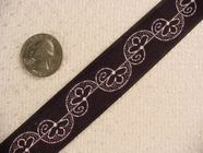 Swirling Floral Vine on Black Jacquard Ribbon #-WR-121