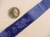 Delicate Floral on Navy Satin Jacquard Ribbon #-WR-167