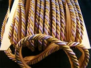 """Italian 3/8"""" Lavender Beige Multi Olive Green Twisted Cord with Lip LT-138"""