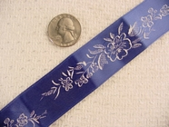 Vintage White Flowers on Navy Jacquard Ribbon #-WR-461