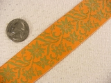 Green/Orange Floral Wallpaper Print Jacquard Ribbon #-WR-119