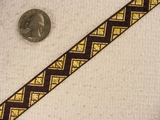 Metallic Gold with Black Zigzag Jacquard Ribbon #-WR-86