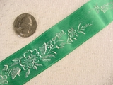 Delicate Floral on Green Satin Jacquard Ribbon #-WR-150