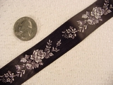 Delicate Floral on Black Satin Jacquard Ribbon #-WR-151