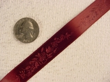 Beautifully Delicate Floral on Deep Wine Jacquard Ribbon #-WR-160