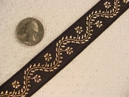 4-3/4 Yards Metallic Gold Floral Vine Jacquard Ribbon