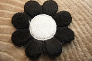 Beautiful Black and White Petals Flower Iron On Patch Applique # appliques-1047