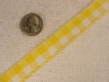 Vintage Miniature Yellow Gingham Check Ribbon #-WR-417