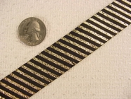 Gold Metallic/Black Diagonal Stripe Jacquard Ribbon #-WR-193