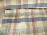 Cream Grey Blue Clay Plaid Wool Blend Coating Fabric # WL-251