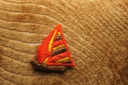 Orange Red with Yellow and Brown Sailboat Applique # appliques-1067
