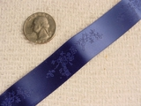 Vintage Delicate Floral on Navy Satin Jacquard Ribbon #-WR-460