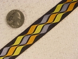 Orange/Gray/Yellow Wave Pattern Jacquard Ribbon #-WR-108