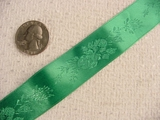 Springtime Flowers on Bright Green Satin Jacquard Ribbon #-WR-241