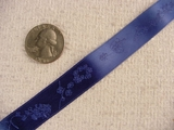 Bird-n-Vine Delicate on Royal Blue Jacquard Ribbon #-WR-245