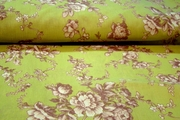 Vintage Green Brown Poly Cotton Floral Prints Decorating Fabric # K-273