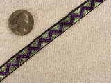 Deep Purple Zigzag on Green Metal Jacquard Ribbon #-WR-107
