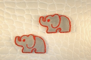 Grey Elephant with Bright Cherry Red Outline Iron-On Applique #appliques-9