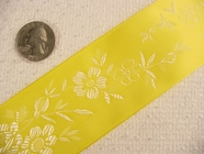 Wide Bright Yellow Delicate Floral Satin Jacquard Ribbon #-WR-230