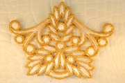 Metallic Gold White Floral Design Iron-On Applique #appliques-12
