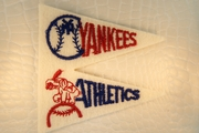 Red Navy Yankees Athletics Off-White Baseball Double Flags Design Iron-On Applique #appliques-24