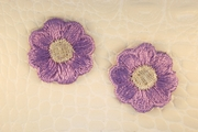 Purple Silver Metallic Flower Iron-On Applique #appliques-32