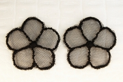 Black Sheer Netting 5 Petals Flower Vintage Applique #appliques-57