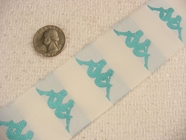 Vintage Teal Gemini Girls on White Ribbon #-WR-452