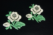 White Rose with Green Stem Applique #appliques-1006