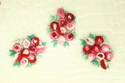 Red Pink Tiny Roses Applique #appliques-1008
