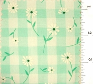 """Mint Green Daisy Printed 1/4"""" Gingham Check Fabric #ABC-584"""