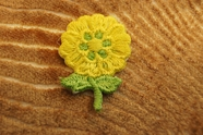 Yellow Flower with Stem and Leaves Iron On Applique # appliques-1039
