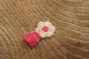 White Flower with Pink tail wind Iron On Applique # appliques-1023