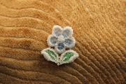 Soft Blue White Flower Applique # appliques-1038
