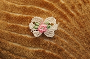 White Bow with Tiny Pink Flower and Leaves Applique # appliques-1041