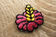 Dark Pink and Yellow Flower Like Design Iron On Applique # appliques-1052